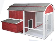 large chicken coop, hen house, red barn coop, cop with run, coop with nesting box, backyard chicken