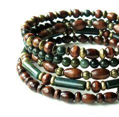 Stacked bead bracelet -- forest green bloodstone by dalystudios