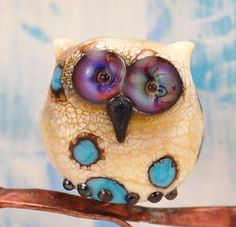 handmade lampwork glass owl bead by Louise Nelson - Glassdaft on Etsy