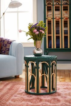 Lulu Green Rattan Side Table   Urban Outfitters