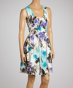 This Aryeh Aqua & Lilac Floral A-Line Dress - Women by Aryeh is perfect! #zulilyfinds