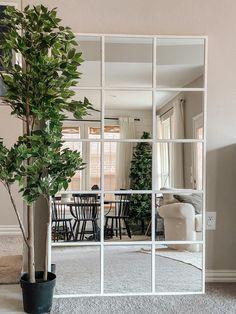 Dining Room Mirror Wall, Living Room Mirrors, Home Decor Mirrors, Industrial Mirrors, Industrial Home Design, Ikea Mirror Hack, Diy Mirror, Diy Home Decor Easy, Easy Diy