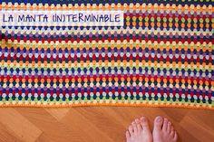 Stripped crochet blanket extra large pattern. Manta de ganchillo a rayas muy grande