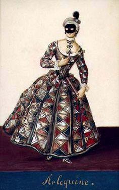 Harlequina, Schwarzenberg collection of theatralia and theatre repertoire, costume design, middle 18th century