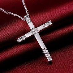 Kreuz Kristall Strass Halskette Kette Collier Weihnachtsgeschenk