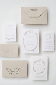Organic Leafy Botanical Wreath Invitation Suite on Handmade Paper by Ettie Kim