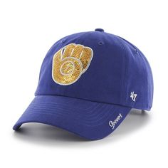13510fd4290 Milwaukee Brewers Sparkle Team Color Clean Up Royal 47 Brand Womens Hat
