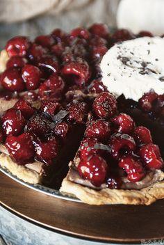 Chocolate Mascarpone Raspberry Pie