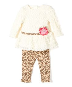 Look at this #zulilyfind! Ivory Appliqué Drop-Waist Dress & Black Floral Leggings - Infant by Nannette Baby #zulilyfinds