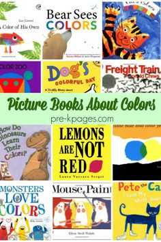 A list of picture books about colors for the preschool, pre-k, or kindergarten classroom. Pre-K books about colors; preschool science and math books Preschool Color Theme, Preschool Literacy, Preschool Themes, Preschool Worksheets, Kindergarten Classroom, Preschool Pictures, Toddler Worksheets, Classroom Ideas, Math Books