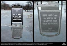 La pubblicità che si riflette nelle pozzanghere, visibile solo quando ce n'è bisogno!