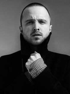 Aaron Paul from Breaking Bad, Jessie Pinkman, beard, hand, expression, great face, sexy, hot, eye candy, hotty, celeb, famous, portrait, photo b/w.
