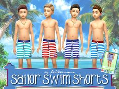 Sailor Swimshorts by Waterwoman at Akisima • Sims 4 Updates