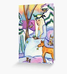 Winter Spirit Greeting Card Snowy Forest, Snowy Trees, Winter Illustration, Illustration Art, Beard Winter, Winter Fairy, Winter Painting, Nature Artwork, Winter Solstice