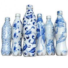 Set of six blue and white Cola bottles by Taikkun Li