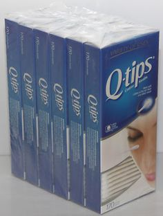 Q-tips Cotton Swabs 100% Pure Cotton (6 Pack) = 1,020 Two sides Swabs Qtips Q tips     More Soft Cotton at the tip than any other swab