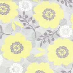 Modern Roses - Pretty Polly in Honey Sweet Grey // Moda Fabrics at Juberry Gold Fabric, Floral Fabric, Cotton Fabric, Farmer's Daughter, Fabulous Fabrics, Grey Yellow, Bloom, Quilts, Roses