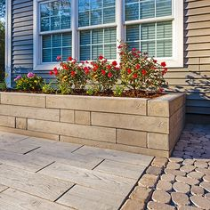 Valley City Supply has the largest supply of Techo Bloc Borealis retaining wall pavers are perfect for residential and commercial retaining walls, garden walls, and pillars. Landscaping Retaining Walls, Garden Design, Garden In The Woods, Bedding Plants, Garden Wall, Wall, Wall Systems, Front Yard, Modern Landscaping