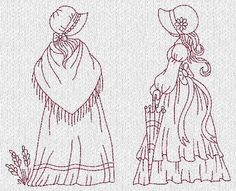 girls 7 and 8 Vintage Embroidery, Hand Embroidery Patterns, Embroidery Applique, Cross Stitch Embroidery, Machine Embroidery Designs, Cross Stitch Patterns, Quilt Patterns, Sunbonnet Sue, Anni Downs
