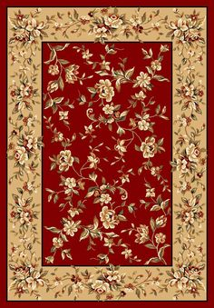 Cambridge Red & Beige Floral Area Rug