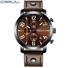 c3e2636c7274 Relogio Masculino CRRJU Creative Luxury Quartz Men Watch Leather  Chronograph Army Military Sport Watches Clock Men