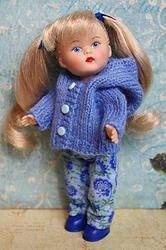 """Teeny, tiny drops of the Blues! This 2 PC outfit is for your tiny Vogue 5 1/2"""" Mini Ginny doll and comes in blues. The hooded sweater is made of a gorgeous medium blue colored yarn, with tiny mini buttons down the front for easy removal. It is hooded, so your Mini Ginny can wear it up or down depending upon the weather. The pants are made in a boot cut, and of a floral watercolor looking fabric. Designed to tiny perfection, and at www.karmelapples.com now! Click on the picture to take you…"""