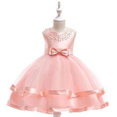 03a53b1fe71 Girls Pink Bow Decor Flower Girls Party Dresses · Prom Party  DressesBirthday DressesGirls Party DressWedding DressesBaby ...