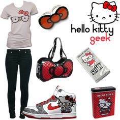 HELLO KITTY GEEK @Betsy Buttram Buttram Smith I, I already dress like this... >_>