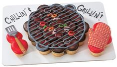 35 Impressive Cakes Shaped Like Grills For Father Cupcakes Design, Cupcake Cake Designs, Fun Cupcakes, Cupcake Cookies, Cupcake Ideas, Cookie Ideas, Fathers Day Cupcakes, Fathers Day Cake, Pull Apart Cupcake Cake