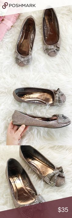 Selling this Glitter + Gem Bow Flats on Poshmark! My username is: karendaugherty. #shopmycloset #poshmark #fashion #shopping #style #forsale #Buckle #Shoes