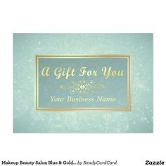 Makeup Beauty Salon Blue & Gold Gift Certificate Large Business Card