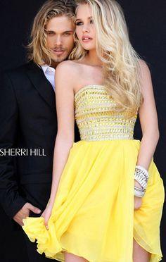 Cheap Sequin A-Line Sherri Hill 11028 Yellow Chiffon Cocktail Dress