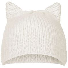 TOPSHOP Cat Ear Beanie Hat ($26) ❤ liked on Polyvore featuring accessories, hats, beanies, head, white, cream, white beanie, cat ear beanie hat, white beanie hat and beanie hats
