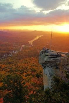 Places to see near Asheville North Carolina... aka FunkyVilleUSA / Sunrise today at Chimney Rock Park, near Asheville, North Carolina. Lake Lure in the background... Dirty Dancing segments shot there