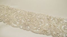 "Beaded Bridal Wedding Sash Belt 7 cm 22"" with pearls crystal beads ivory"