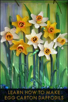 Narcissus , daffodils , narcissus and the snail Eveline Beautiful narcissus, right? With the egg carton can do amazing things . I made the daffodils as those that fill these days my . Daffodil Craft, Daffodil Flower, Flower Art, Flower Ideas, Spring Art Projects, Spring Crafts For Kids, Art For Kids, Egg Carton Art, Egg Carton Crafts