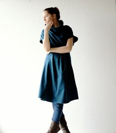 Blau Kleid Pullover-Kleid Kleid Teal Plus Größe von larimeloom