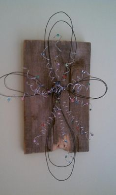 WIre & Bead Cross attached to an old piece of wood. crafts  wrap the wire tighter initially, wrap with glass beads and some dangles
