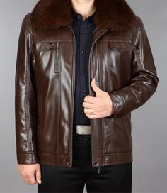 New Winter Men Leather Rabbit Fur Collar Jacket In Middle-aged And Velvet With Thick Warm Coat