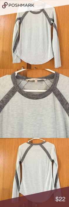 Rachel Roy mint/bray long sleeve baseball tee, S RACHEL Rachel Roy long sleeve mint/gray knit top. Baseball style. Shirttail hemline. Soft and comfy! Size small. New, with tags. Nonsmoking home. RACHEL Rachel Roy Tops Tees - Long Sleeve