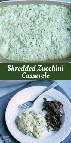 An easy shredded zucchini casserole that needs only six basic ingredients. It's a delicious side dish that goes well with poultry or beef. | LowCarbYum.com via @lowcarbyum