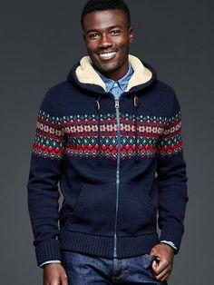 Sherpa fair isle zip sweater hoodie