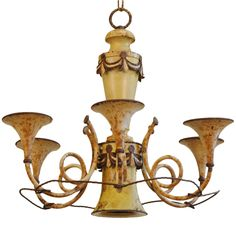 An Italian Early 20th Century Painted Tole 6-Light Chandelier