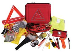 Thrive Roadside Assistance Auto Emergency Kit  First Aid Kit  Case  Contains Jumper Cables tools Reflective Safety Triangle and more Ideal winter accessory for your car truck camper >>> Check this awesome product by going to the link at the image.
