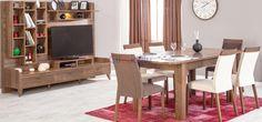 Yemek odasında doğal, şık ve zarif bir görünüm yaratmak istiyorsanız, Natura yemek odası takımı doğru seçim olacaktır. Tamamen ahşap kaplaması ile evinize doğallık sunacak olan Natura; ağır desenlere sahip, parlak renklerde, çok fazla hareketli ve bu nedenle de göz yoran mobilyalara nazaran misafirlerinizin de rahat etmesini sağlar. Dining Table, Furniture, Home Decor, Decoration Home, Room Decor, Dinner Table, Home Furnishings, Dining Room Table, Diner Table