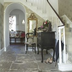 stone flagged white country hallway | flag stone, textured walls ... - Wohnideen Small Corridor