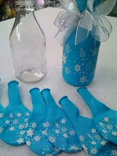 Balloon Covered Bottle Centerpieces.