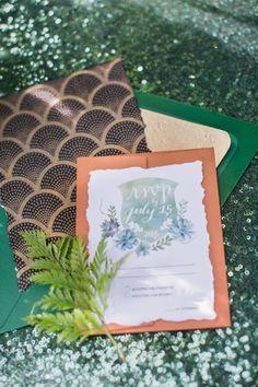 Pretty emerald invitation suite: http://www.stylemepretty.com/little-black-book-blog/2015/09/01/jewel-tone-forest-wedding-inspiration/   Photography: Heather Cook Elliott - http://heathercookelliott.com/