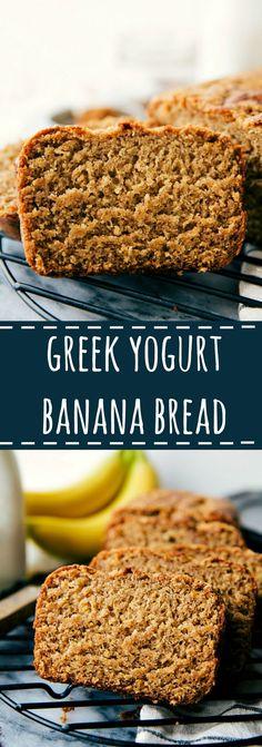 Delicious healthier Greek Yogurt banana bread, use organic coconut palm sugar in place of brown sugar Healthy Bread Recipes, Healthy Banana Bread, Yogurt Recipes, Healthy Snacks For Diabetics, Banana Bread Recipes, Healthy Sweets, Healthy Baking, Skinny Banana Bread, Delicious Desserts