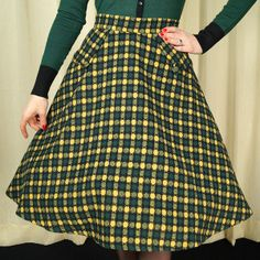 VooDoo Vixen Green Dots Plaid Swing Skirt